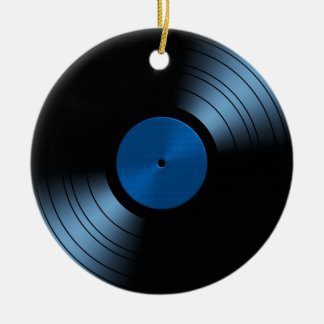 Álbum de disco de vinilo retro en azul adorno redondo de cerámica
