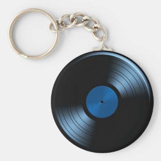 Álbum de disco de vinilo retro en azul llavero redondo tipo pin