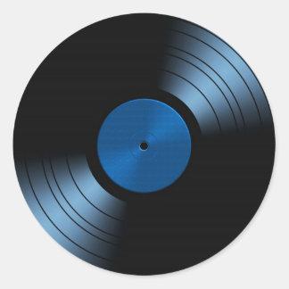 Álbum de disco de vinilo retro en azul pegatina redonda