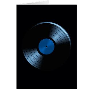 Álbum de disco de vinilo retro en azul tarjeta de felicitación