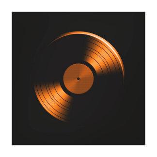 Álbum de disco de vinilo retro en naranja lona envuelta para galerías