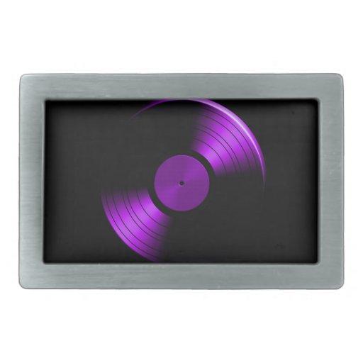 Álbum de disco de vinilo retro en púrpura hebillas cinturon