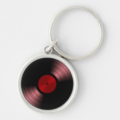 Álbum de disco de vinilo retro en rojo llavero redondo plateado