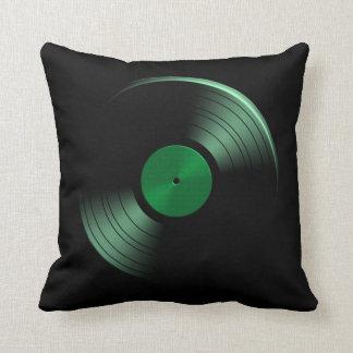 Álbum de disco de vinilo retro en verde almohada
