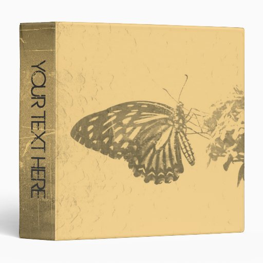 "Álbum de foto de la mariposa y de la flor del vint carpeta 1 1/2"""