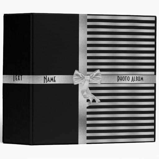 "Álbum de foto de plata negro de la raya de la carpeta 2"""