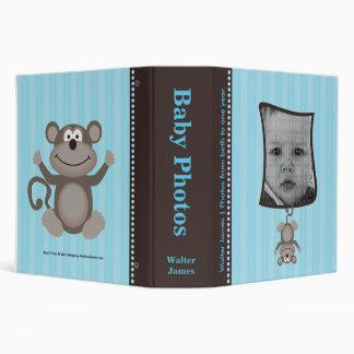 Álbum de foto del bebé de la raya azul con el mono
