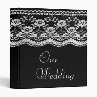 Álbum de foto del cuero negro y blanco y del boda