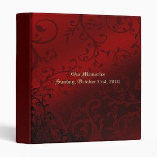 Álbum de foto gótico del boda del damasco rojo