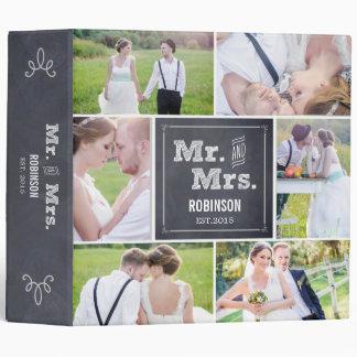 Álbum de foto marcado con tiza del boda del collag
