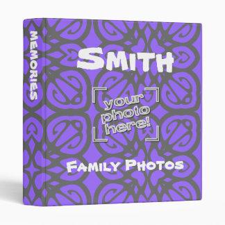 Álbum de foto personalizado retro púrpura gris osc