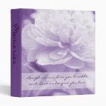 Álbum de foto púrpura bonito de la cita del Peony
