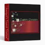 Álbum de foto rojo y negro del dulce dieciséis