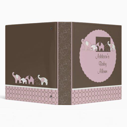 Álbum del bebé con los elefantes rosados y los cír