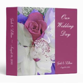 Álbum del boda de la orquídea del rosa rojo y del