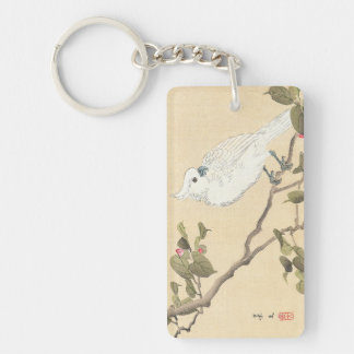 Álbum del pájaro y de la flor, Cockatoo y camelia Llavero Rectangular Acrílico A Doble Cara