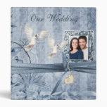 Álbum floral azul del boda de la foto del vintage