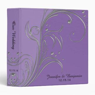 "Álbum floral de plata violeta de las volutas de la carpeta 1 1/2"""