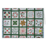 Album quilt with season flowers, 1844 card