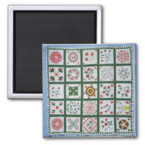 Album quilt with season flowers, 1844 magnet