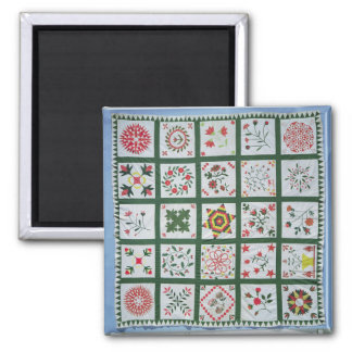 Album quilt with season flowers, 1844 2 inch square magnet
