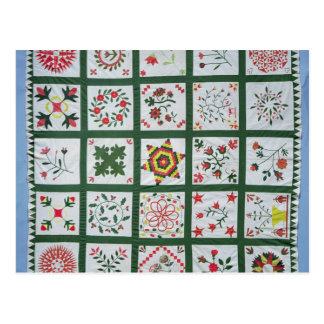 Album quilt with season flowers, 1844 postcard