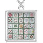 Album quilt with season flowers, 1844 square pendant necklace