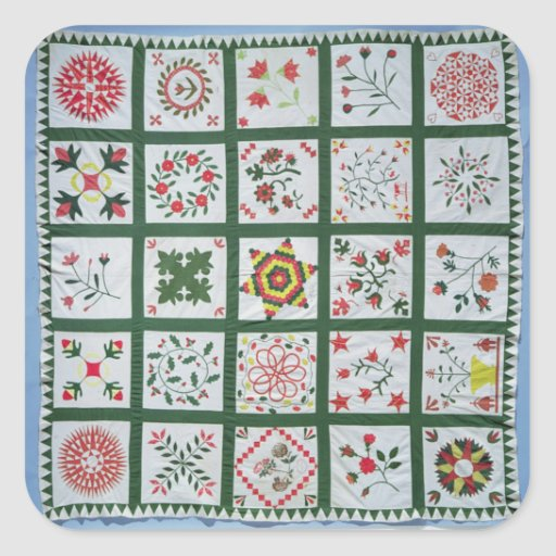 Album quilt with season flowers, 1844 square sticker