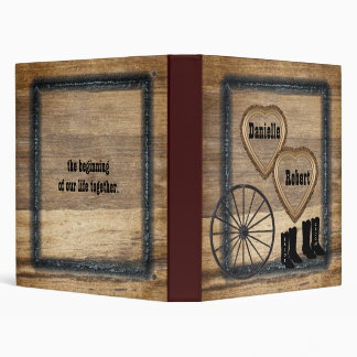 Álbum rústico occidental del boda de la rueda de