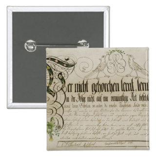 Album sheet, 1789 pinback button