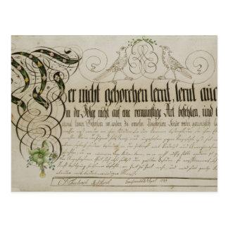 Album sheet, 1789 postcard