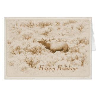 Albumen Bugling Bull Elk Custom Happy Holidays Card
