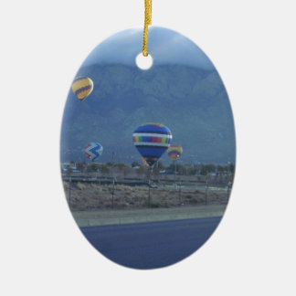 Albuquerque International Balloon Fiesta 1.13 Double-Sided Oval Ceramic Christmas Ornament