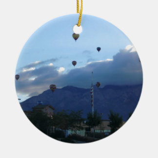 Albuquerque Mountains & Balloon Fiesta Double-Sided Ceramic Round Christmas Ornament