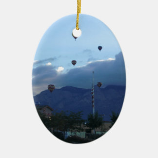 Albuquerque Mountains & Balloon Fiesta Double-Sided Oval Ceramic Christmas Ornament