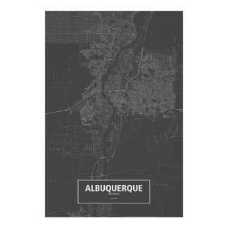 Albuquerque, New Mexico (white on black) Poster