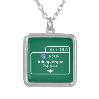 Albuquerque, NM Road Sign Personalized Necklace