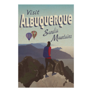 Albuquerque Sandia Mountains Retro Travel Poster