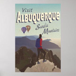 Albuquerque Sandia Mountains Retro Travel Poster