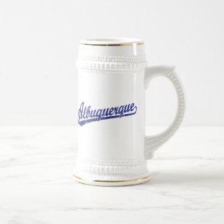Albuquerque script logo in blue beer stein