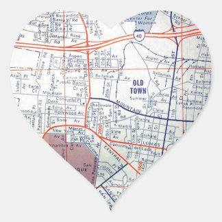 ALBUQUERQUE Vintage Map Heart Stickers