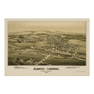 Alburtis y Lockridge, mapa panorámico del PA - 189 Póster