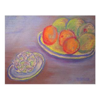 Alcachofa, naranjas y mangos postales