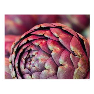 alcachofas en el mercado tarjeta postal