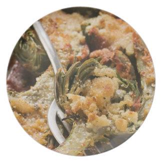 Alcachofas rellenas con el desmoche del gratén platos