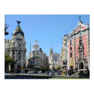 Alcala and Gran Via, Madrid Postcard