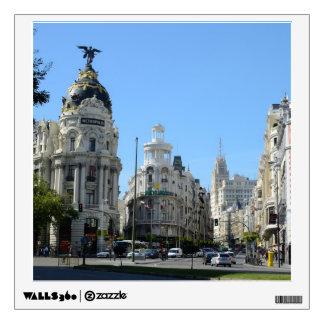 Alcala and Gran Via, Madrid Square Wall Decal