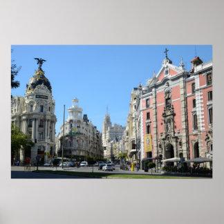 Alcala and Gran Via Street, Madrid Poster