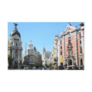 Alcala y Gran vía la calle, Madrid estiraron Canva Impresiones De Lienzo