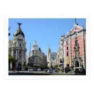 Alcala y Gran vía la calle, postal de Madrid
